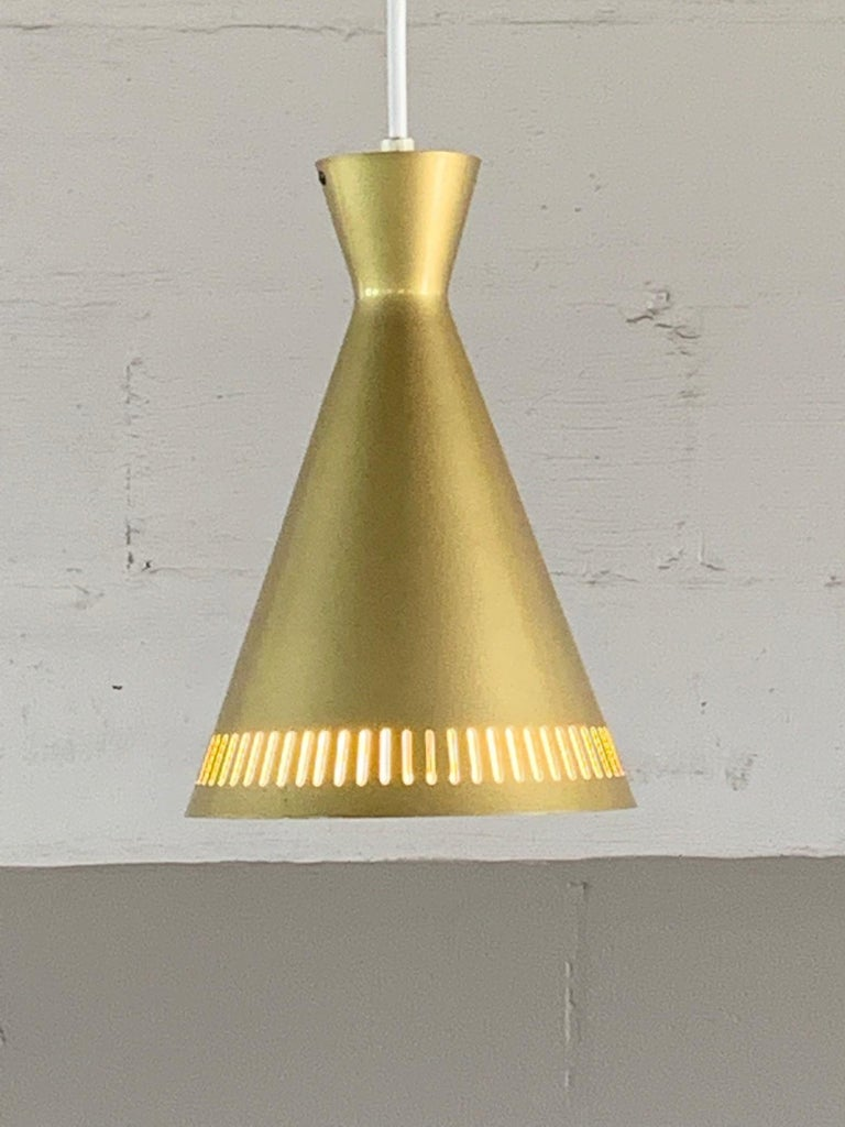 Aluminum Set of Three Unusual Gold Pendant Lights, Germany, 1960s For Sale