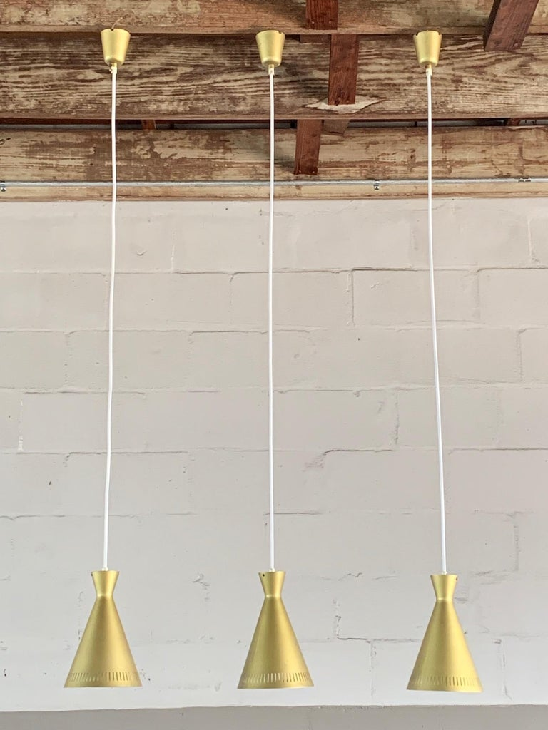 Set of Three Unusual Gold Pendant Lights, Germany, 1960s For Sale 2