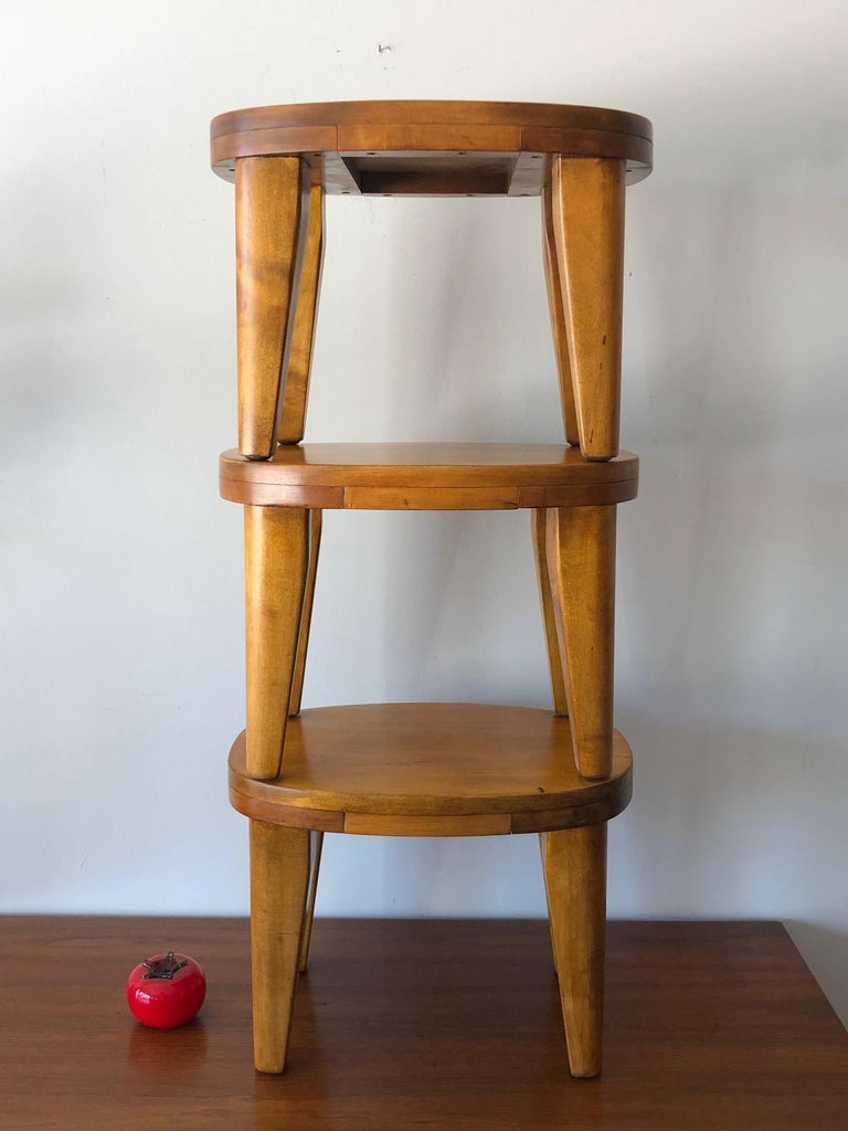 A set of three libriary or child stools. Super sturdy and well-made of solid birch circa 1950s. Could be foot stools or ottomans, etc...