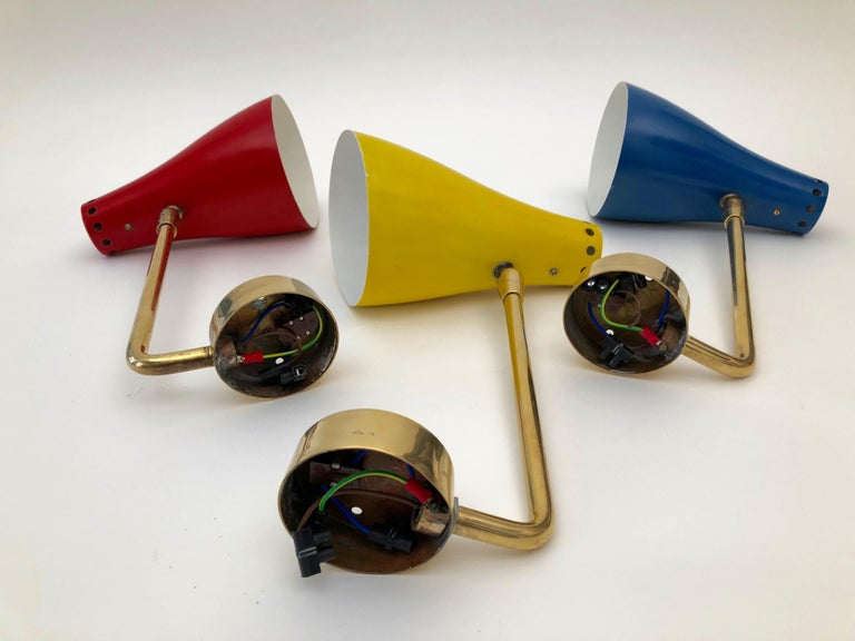 Set of Three Wall Lights, Attributed to Stilnovo, Made in the 1950s, Italy For Sale 8