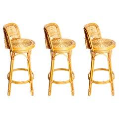 Set of Three Woven Wicker Swivel Bar Stools