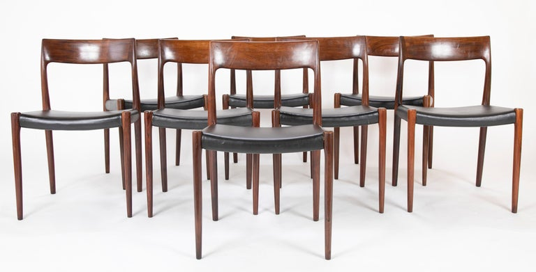 Niels Moller designed model 77 rosewood dining chairs. A set of 12 designed in 1959 produced in the 1960s.