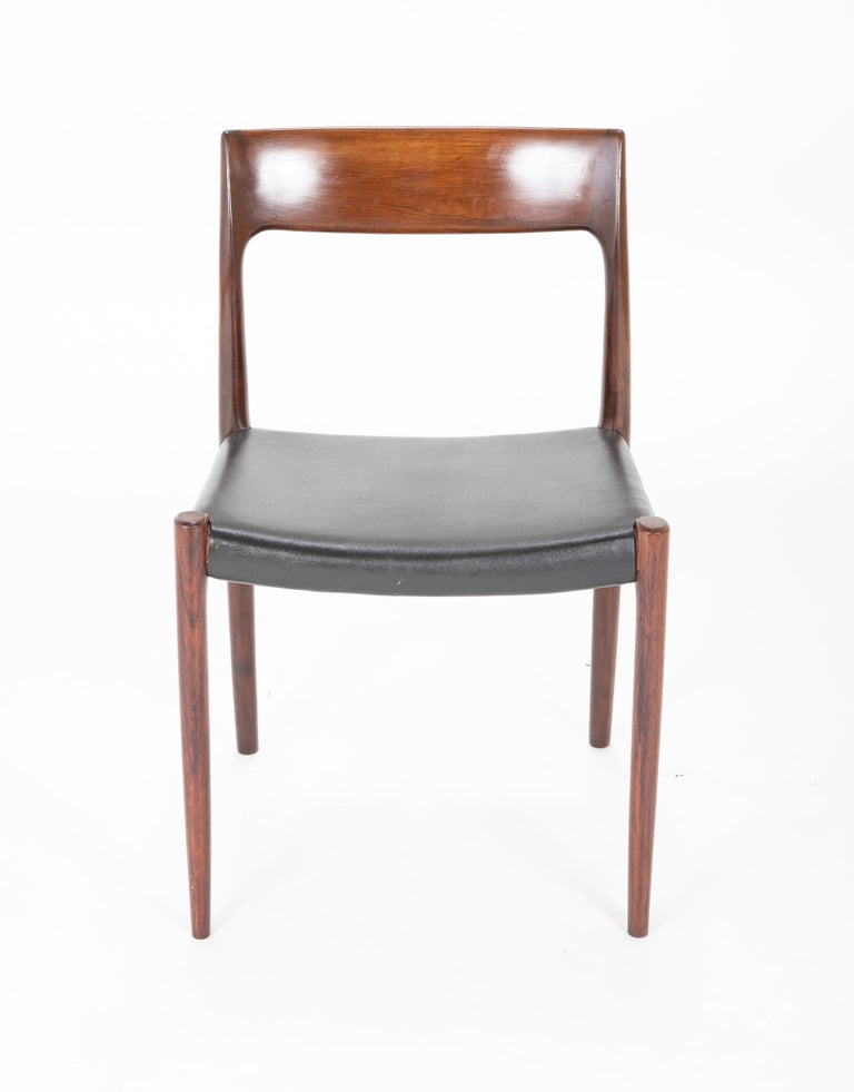 Danish Set of Four Model 77 Niels Moller Rosewood Dining Chairs For Sale