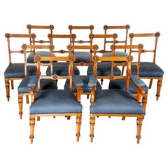 Set of Twelve Victorian Gothic Revival Oak Dining Chairs