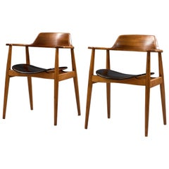 Set of Two '411' Armchairs by Hartmut Lohmeyer for Wilkahn in Beech