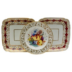 Set of Two Matching Square Coalport and a Single Floral Davenport Plates