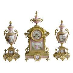 Sevres Style Ormolu Mounted Jewelwd Procelain Rose Pomedur Clock Garniture 19