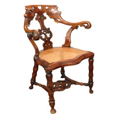 A Shapely English Yew Wood Captain's Chair