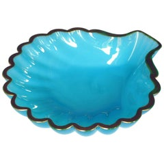 Shapely French Pale-Blue Opaline Glass Shell-Form Bowl