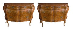 A Shapely Pair of Italian Rococo Style Bombe-Form Chests of Drawers w Marquetry