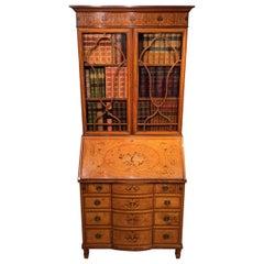 Sheraton Revival Satinwood Marquetry Inlaid Antique Bureau Bookcase
