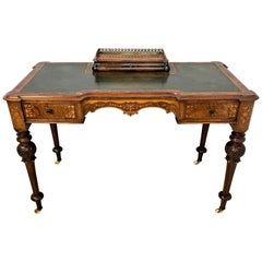 Shoolbred Labeled Victorian Walnut Writing Table with a Green Leather Top