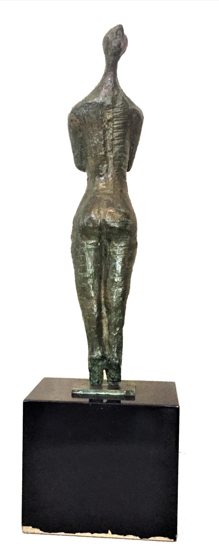"""American Shout, Mid-Century Modern Patinated Bronze Sculpture, Signed """"Igor 67"""" For Sale"""