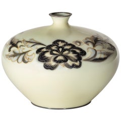 Showa Period Grey and Cream Cloisonné Vase