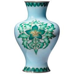 Showa Period Pale Blue Cloisonné Vase by Tamura