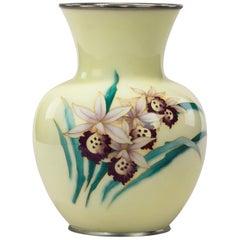 Showa Period Pale Yellow Cloisonné Vase by Tamura