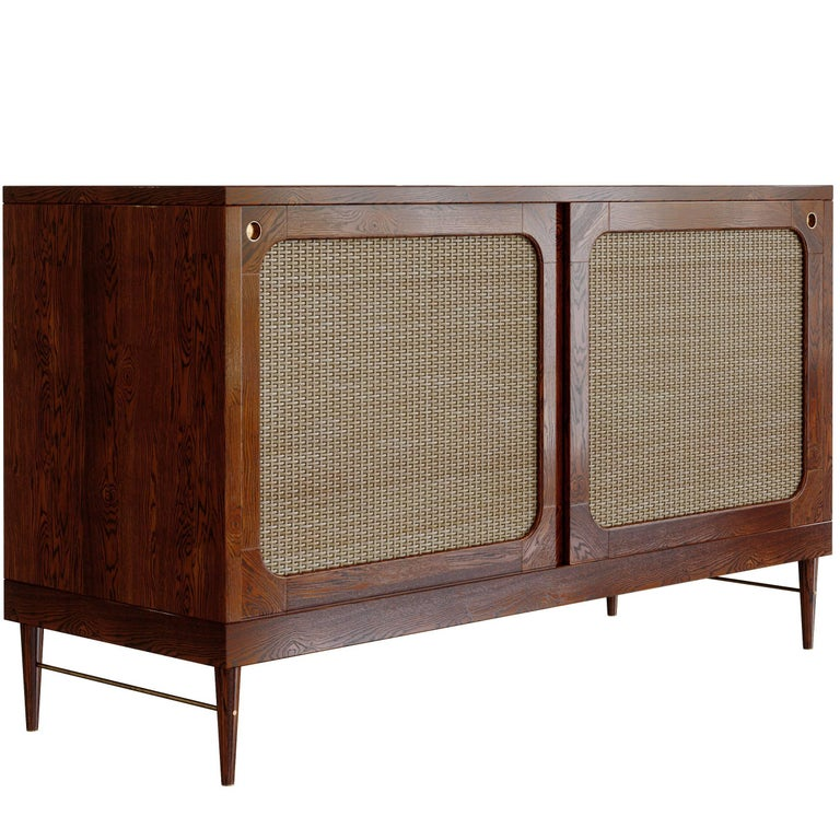 Sideboard for Sanders by Lind + Almond in Cognac and Rattan For Sale