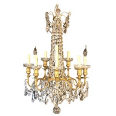 Signed Louis XVI French 12-Arm Baccarat Gilt Bronze and Crystal Chandelier