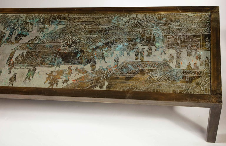 American Signed Philip and Kelvin LaVerne Large Size Chinoiserie Table in Etched Bronze For Sale