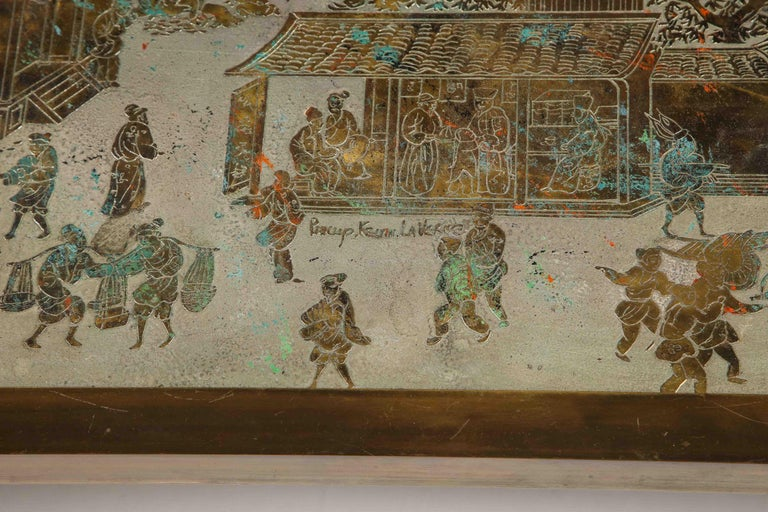 Mid-20th Century Signed Philip and Kelvin LaVerne Large Size Chinoiserie Table in Etched Bronze For Sale