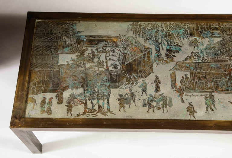 Signed Philip and Kelvin LaVerne Large Size Chinoiserie Table in Etched Bronze For Sale 1