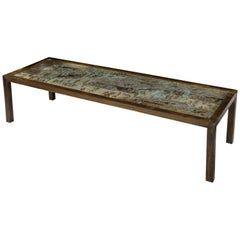 Signed Philip and Kelvin LaVerne Large Size Chinoiserie Table in Etched Bronze