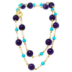 Signed Rosaria Varra Turquoise and Amethyst Beads Station Necklace 18 Karat
