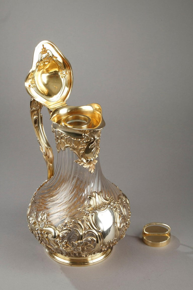 Silver and Crystal Pair of Jugs, Tétard For Sale 4