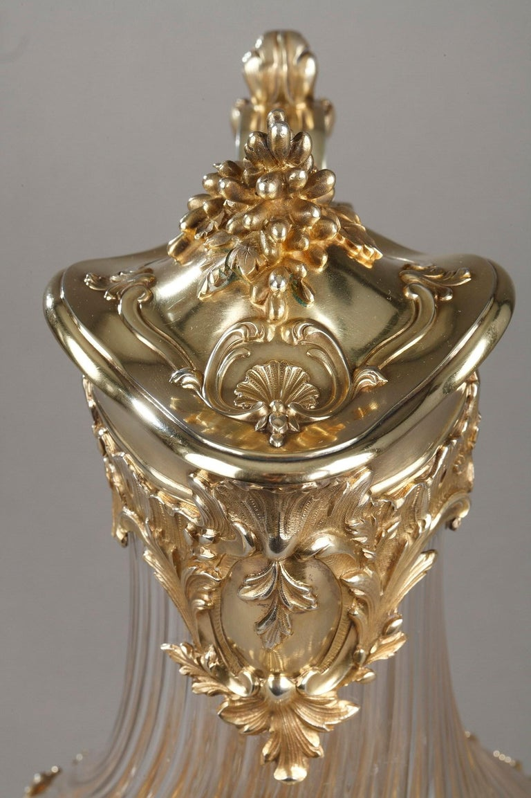 Silver and Crystal Pair of Jugs, Tétard For Sale 6