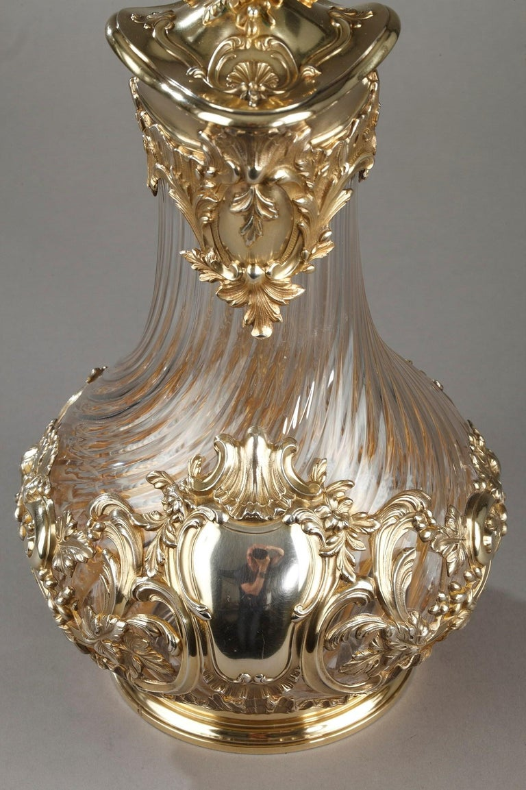 Silver and Crystal Pair of Jugs, Tétard For Sale 7