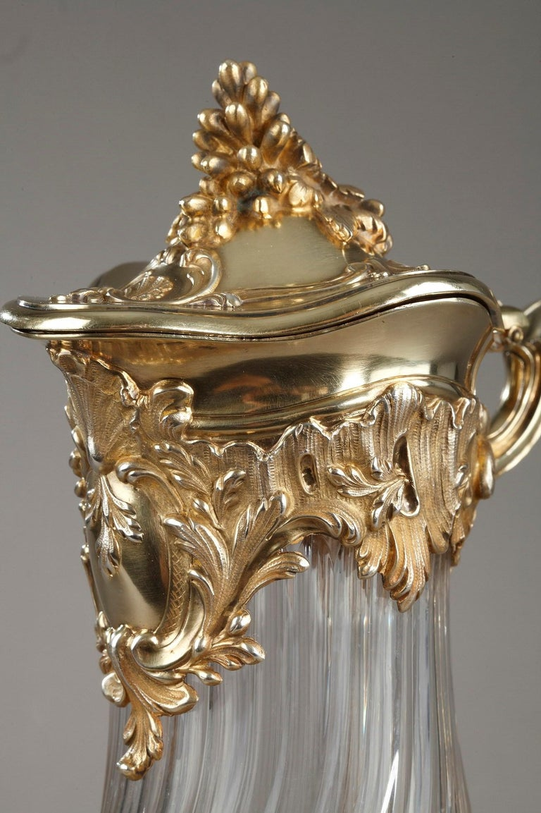Silver and Crystal Pair of Jugs, Tétard For Sale 11