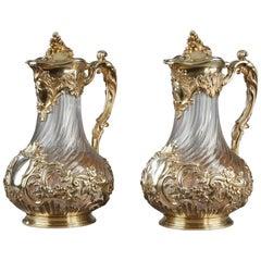 Silver and Crystal Pair of Jugs, Tétard