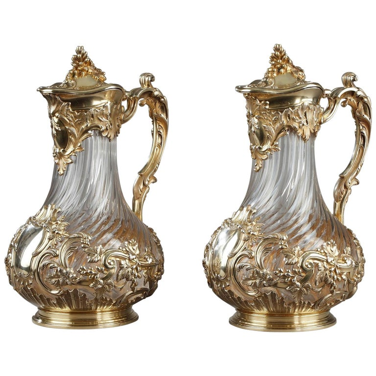 Silver and Crystal Pair of Jugs, Tétard For Sale