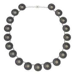 Silver and Enamel Daisy Necklace by Georg Jensen