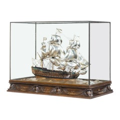 Silver and Wood Model of HMS Victory by H Wylie