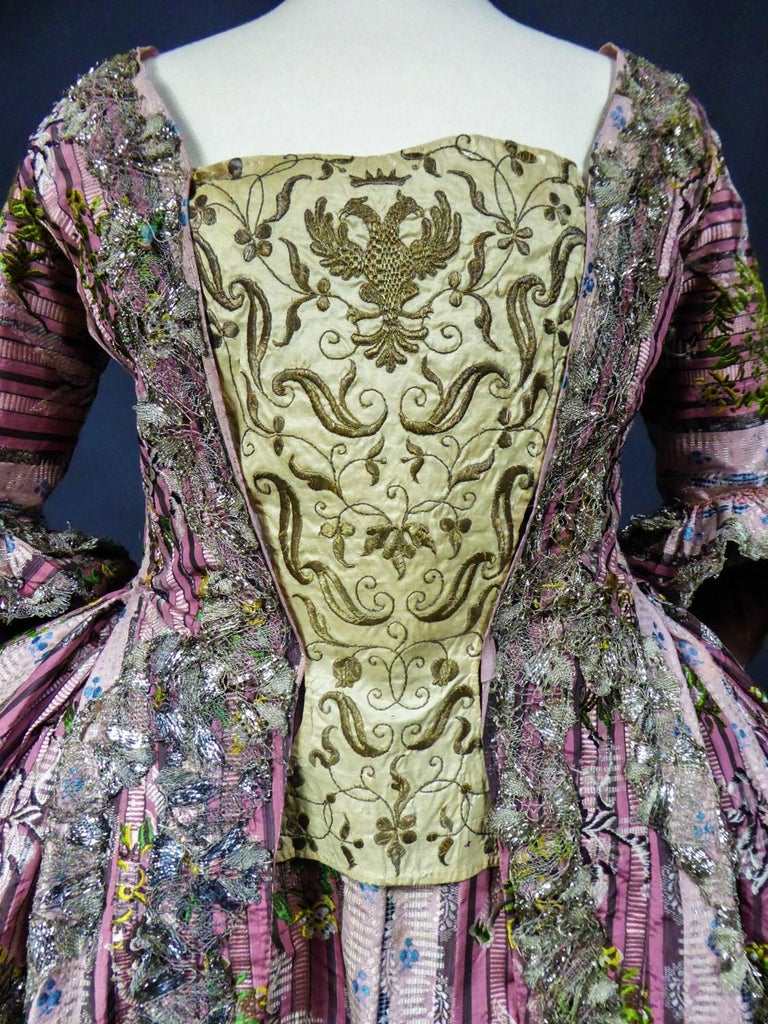 Women's A Silver Silk Brocade French Court Robe à la Française- Circa 1765/1780 For Sale
