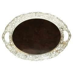 Silver Tray with Wooden Bottom, 1948