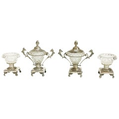 Silver with Crystal Serving Set with 2 Small Candy Dishes and 2 Salt Cellars
