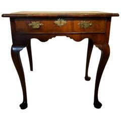 Single Drawer Walnut Side Table or Lowboy, circa 1750