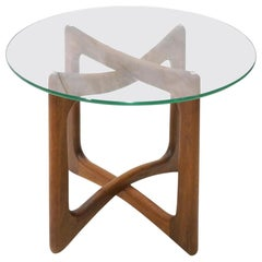 Single Walnut and Glass End Table by Adrian Pearsall