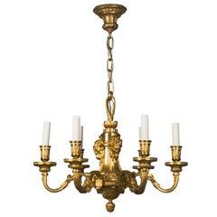 A Six-light Gilded Bronze Chandelier