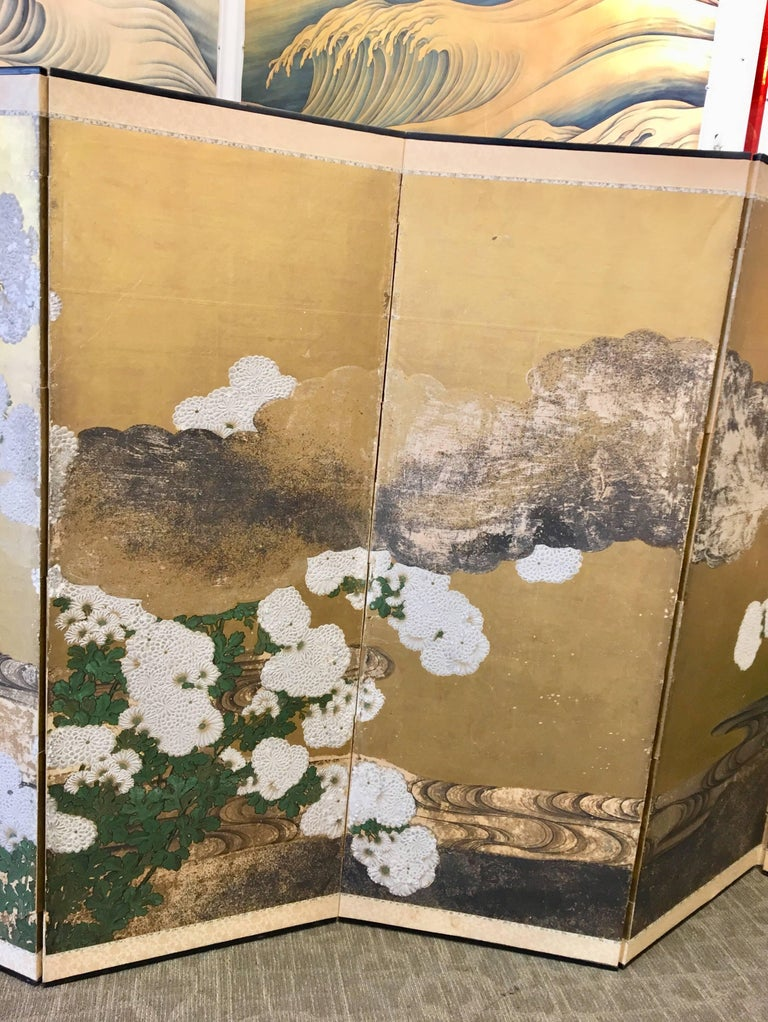 Six-Panel 19th Century Japanese Screen In Good Condition For Sale In New York, NY