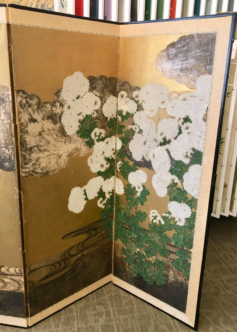 Six-Panel 19th Century Japanese Screen For Sale 1