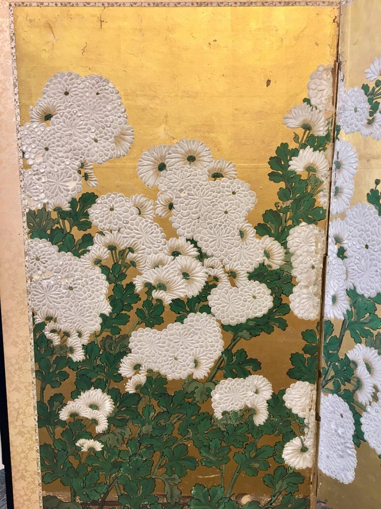 Six-Panel 19th Century Japanese Screen For Sale 4
