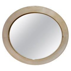 Small 1950s Oval Stoneware Ceramic Mirror