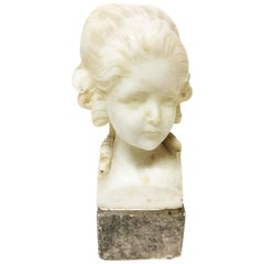 Small Alabaster Bust on Marble Base by Fritz Kochendorfer, 1891