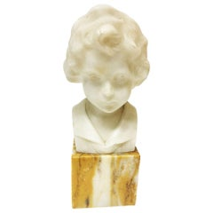 Small Alabaster Bust on Marble Base by German Daniel Greiner, 1900