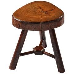 Small Arts & Crafts English Wood Tripod Stool