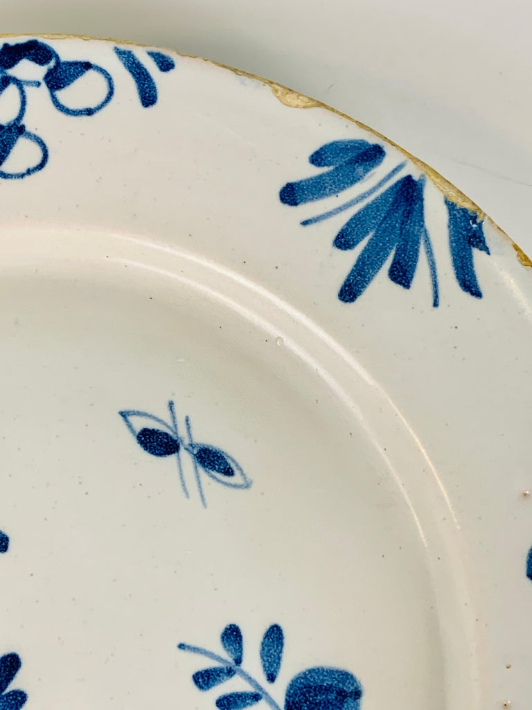 Rococo Small Blue and White Hand-Painted Delft Plate Made, circa 1740 For Sale