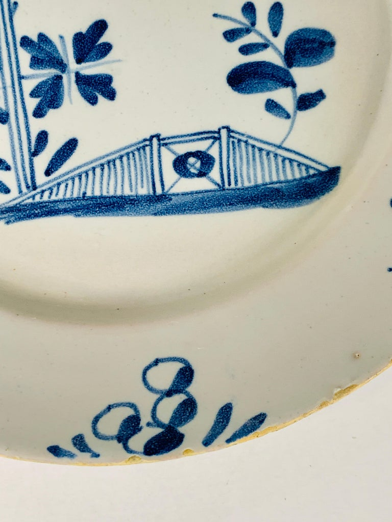 English Small Blue and White Hand-Painted Delft Plate Made, circa 1740 For Sale